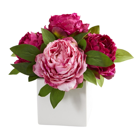 11 Peony Artificial Arrangement in White Vase - SKU #A1296 - 4