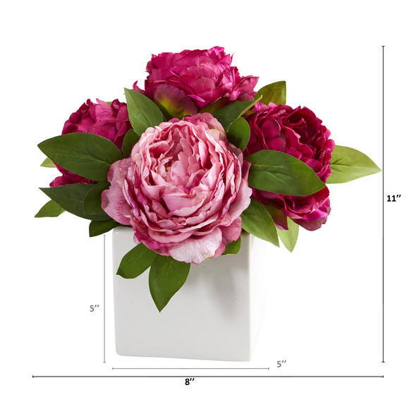 11 Peony Artificial Arrangement in White Vase - SKU #A1296 - 5