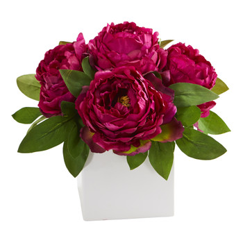 11 Peony Artificial Arrangement in White Vase - SKU #A1296