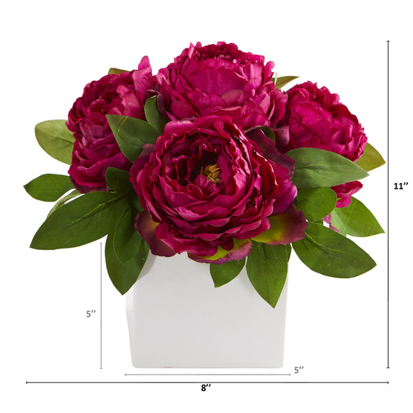 11 Peony Artificial Arrangement in White Vase - SKU #A1296 - 1