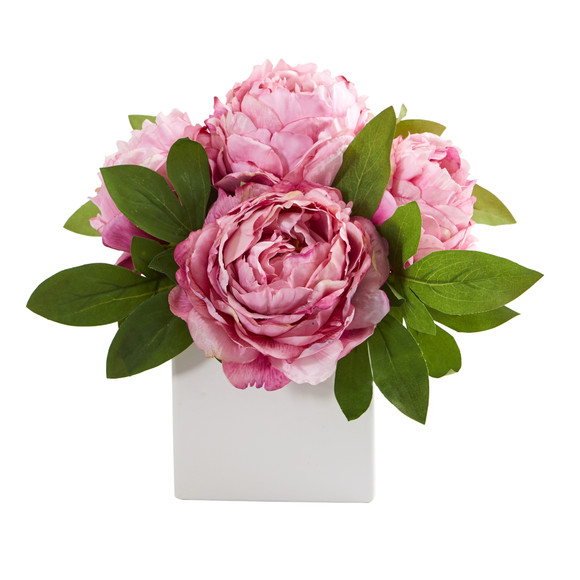 11 Peony Artificial Arrangement in White Vase - SKU #A1296 - 2
