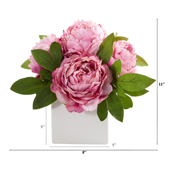 11 Peony Artificial Arrangement in White Vase - SKU #A1296 - 3