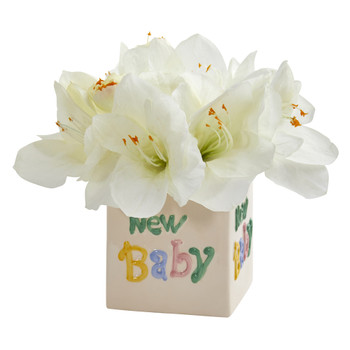 12 Amaryllis Artificial Arrangement in New Baby Vase - SKU #A1298-WH