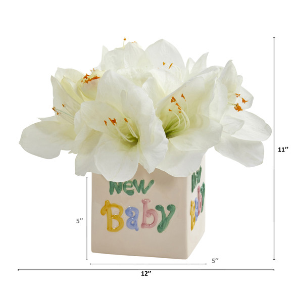 12 Amaryllis Artificial Arrangement in New Baby Vase - SKU #A1298-WH - 1