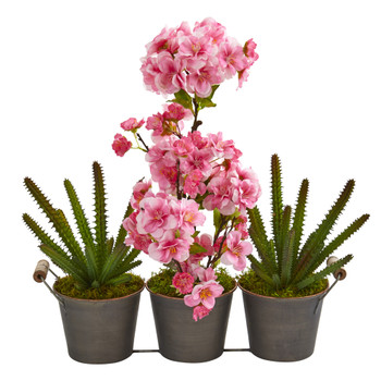 15 Cherry Blossom and Cactus Artificial Arrangement in Trio Metal Vase - SKU #A1300