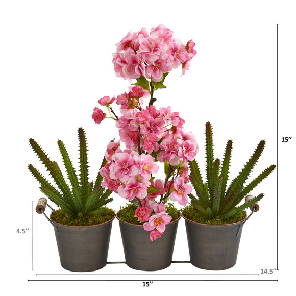 15 Cherry Blossom and Cactus Artificial Arrangement in Trio Metal Vase - SKU #A1300 - 1