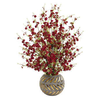 30 Cherry Blossom Artificial Arrangement in Stoneware Vase with Gold Trimming - SKU #A1301