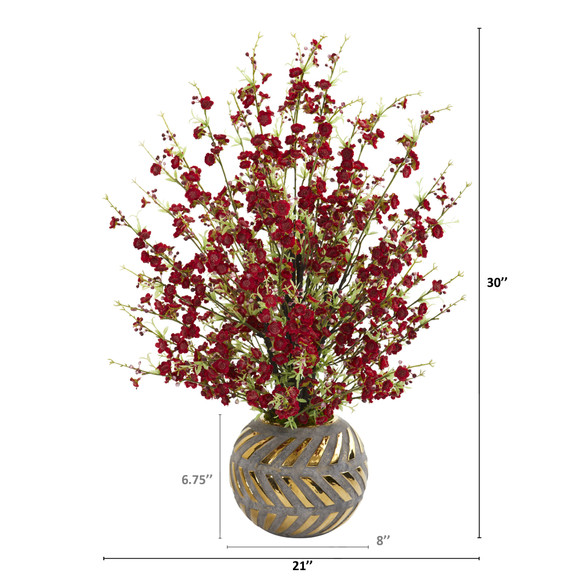 30 Cherry Blossom Artificial Arrangement in Stoneware Vase with Gold Trimming - SKU #A1301 - 1