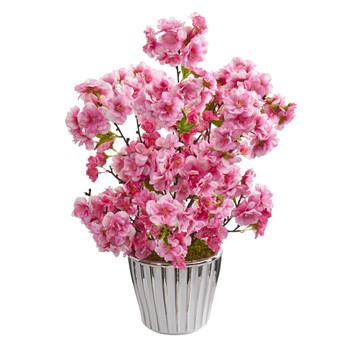 19 Cherry Blossom Artificial Arrangement in White Vase with Silver Trimming - SKU #A1302