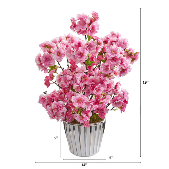 19 Cherry Blossom Artificial Arrangement in White Vase with Silver Trimming - SKU #A1302 - 1