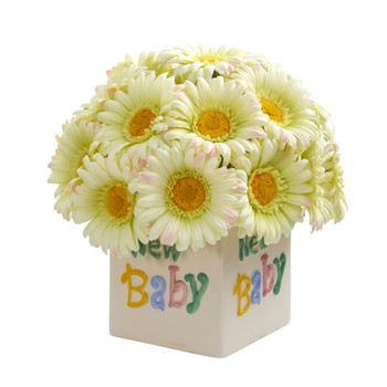 11 Gerber Daisy Artificial Arrangement in New Baby Vase - SKU #A1303-CR
