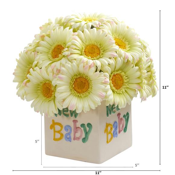 11 Gerber Daisy Artificial Arrangement in New Baby Vase - SKU #A1303-CR - 1