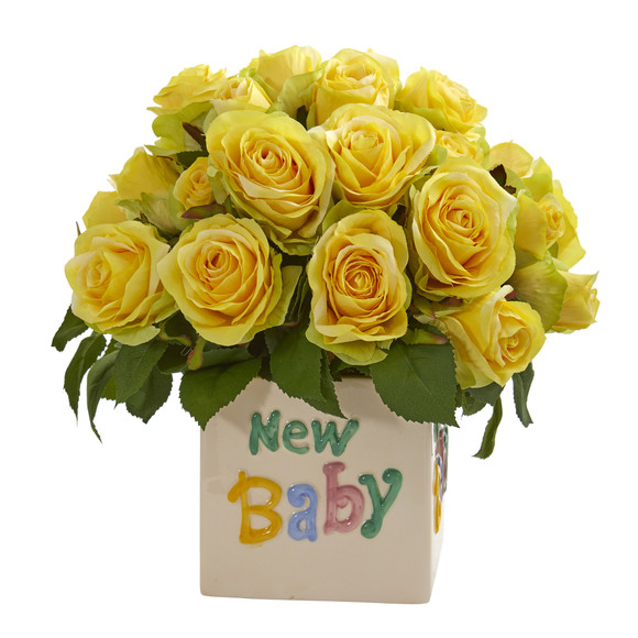 12 Rose Artificial Arrangement in New Baby Vase - SKU #A1304-YL