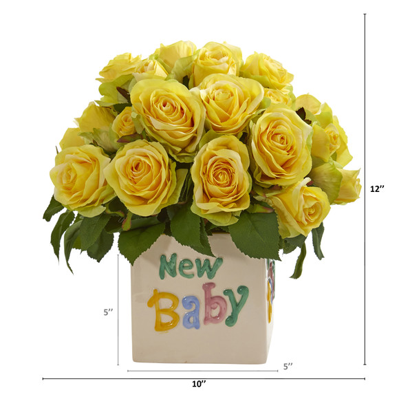 12 Rose Artificial Arrangement in New Baby Vase - SKU #A1304-YL - 1