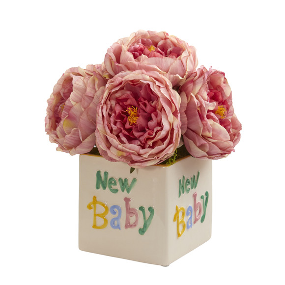 11 Rose Artificial Arrangement in New Baby Vase - SKU #A1305-PK