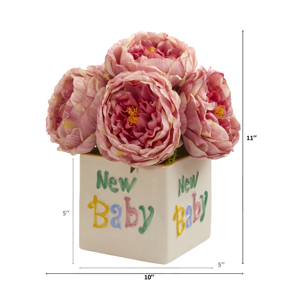 11 Rose Artificial Arrangement in New Baby Vase - SKU #A1305-PK - 1