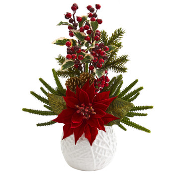 18 Poinsettia Cactus and Holly Berry Christmas Artificial Arrangement in White Vase - SKU #A1306