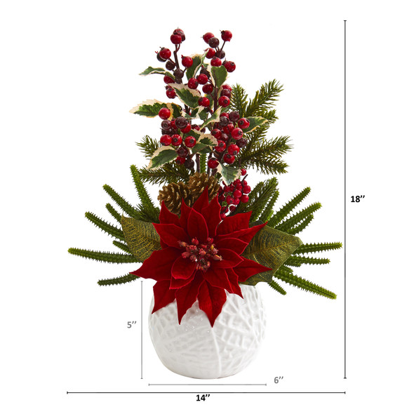 18 Poinsettia Cactus and Holly Berry Christmas Artificial Arrangement in White Vase - SKU #A1306 - 1