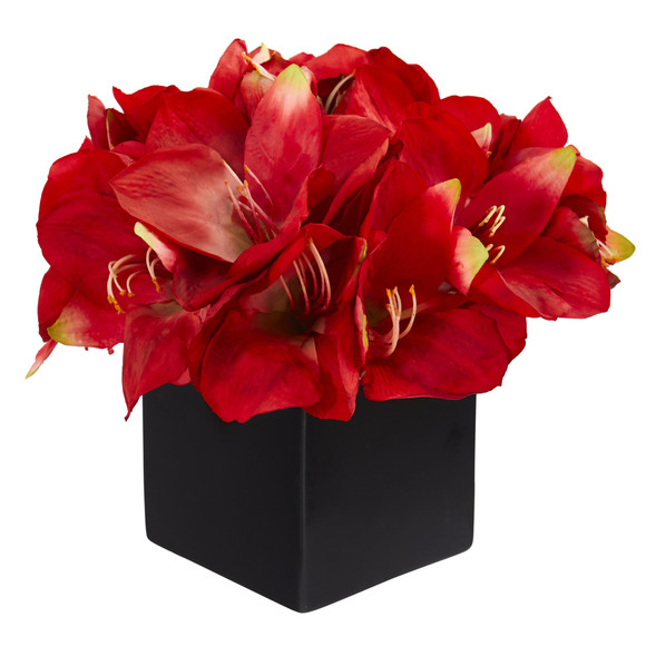 9 Amaryllis Artificial Arrangement in Black Vase - SKU #A1307