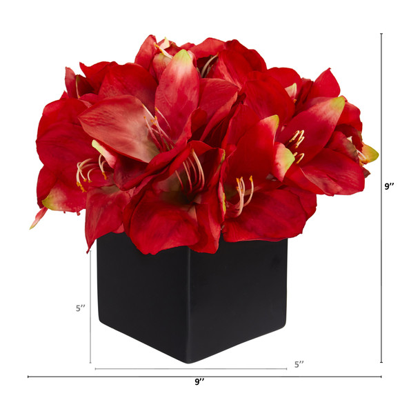 9 Amaryllis Artificial Arrangement in Black Vase - SKU #A1307 - 1