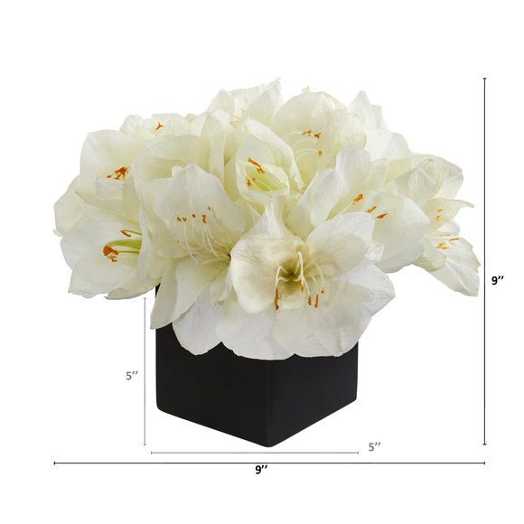 9 Amaryllis Artificial Arrangement in Black Vase - SKU #A1307 - 3