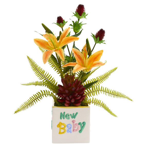 18 Lily Thistle and Succulent Artificial Arrangement in Vase - SKU #A1308