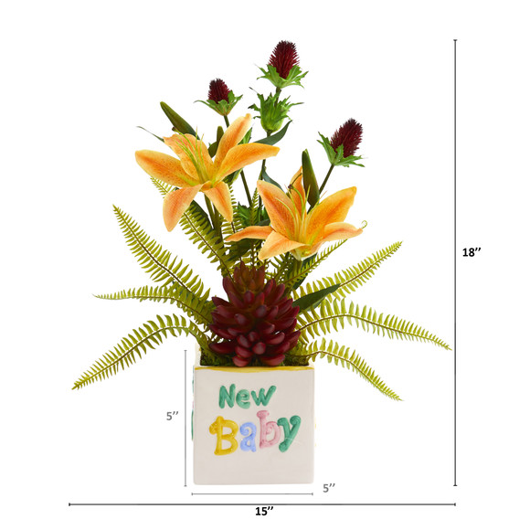 18 Lily Thistle and Succulent Artificial Arrangement in Vase - SKU #A1308 - 1