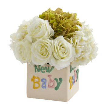 11 Rose and Hydrangea Artificial Arrangement in New Baby Vase - SKU #A1309