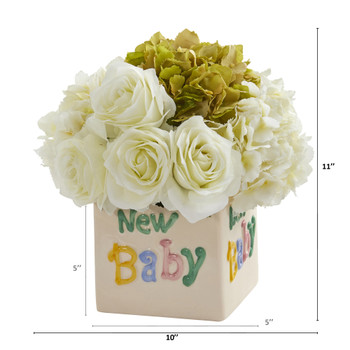 11 Rose and Hydrangea Artificial Arrangement in New Baby Vase - SKU #A1309-WB