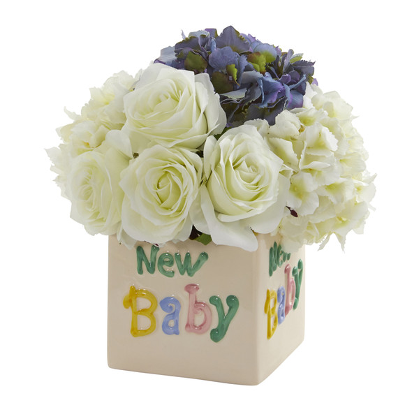 11 Rose and Hydrangea Artificial Arrangement in New Baby Vase - SKU #A1309 - 2
