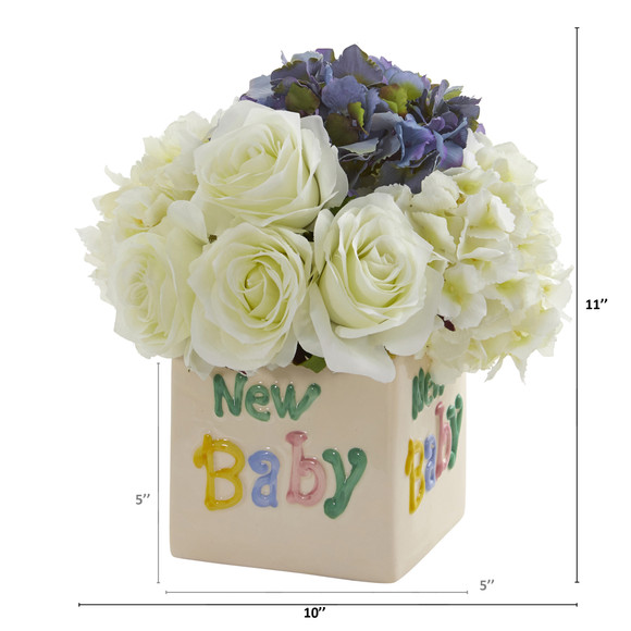 11 Rose and Hydrangea Artificial Arrangement in New Baby Vase - SKU #A1309 - 3