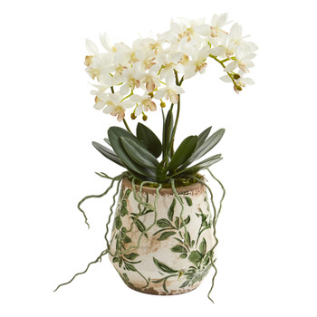 13 Mini Orchid Phalaenopsis Artificial Arrangement in Floral Vase - SKU #A1310