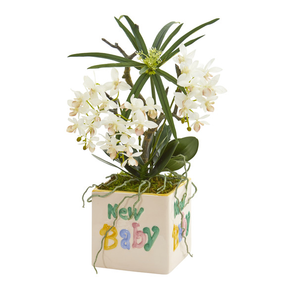 16 Orchid Phalaenopsis and Cyperus Artificial Arrangement in New Baby Vase - SKU #A1311