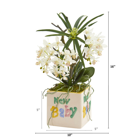 16 Orchid Phalaenopsis and Cyperus Artificial Arrangement in New Baby Vase - SKU #A1311 - 1
