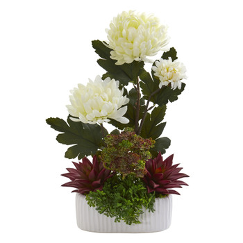 17 Mum and Succulent Artificial Arrangement in White Vase - SKU #A1312