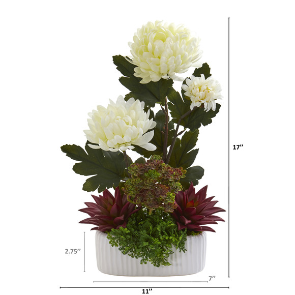 17 Mum and Succulent Artificial Arrangement in White Vase - SKU #A1312 - 1