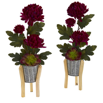 20 Mum and Succulent Artificial Arrangement in Tin Planter with Legs Set of 2 - SKU #A1313-S2