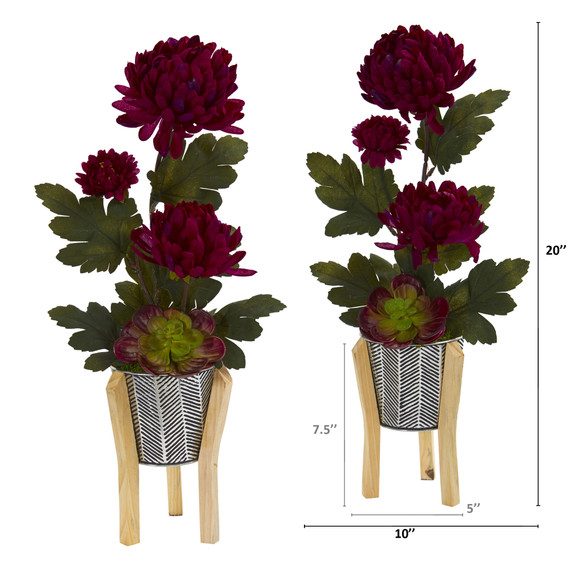 20 Mum and Succulent Artificial Arrangement in Tin Planter with Legs Set of 2 - SKU #A1313-S2 - 1