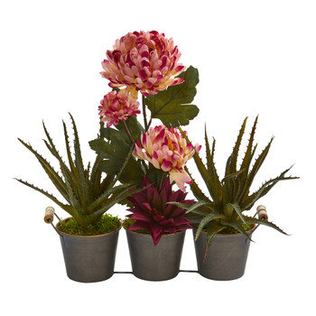 16 Mum and Succulent Artificial Arrangement in Trio Metal Planter - SKU #A1314