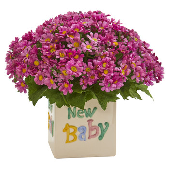 13 Daisy Artificial Arrangement in New Baby Vase - SKU #A1315