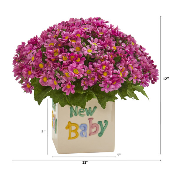 13 Daisy Artificial Arrangement in New Baby Vase - SKU #A1315 - 1