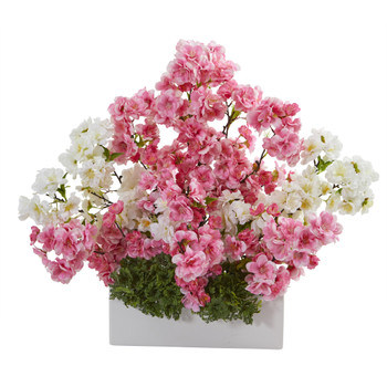 22 Cherry Blossom Artificial Arrangement in White Vase - SKU #A1316