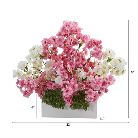 22 Cherry Blossom Artificial Arrangement in White Vase - SKU #A1316 - 1