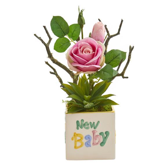 15 Rose and Agave Artificial Arrangement in New Baby Vase - SKU #A1317