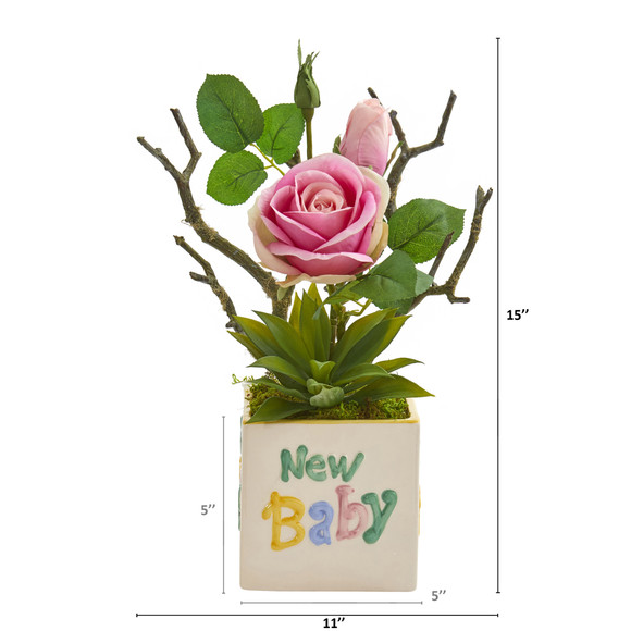 15 Rose and Agave Artificial Arrangement in New Baby Vase - SKU #A1317 - 1