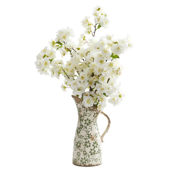 24 Cherry Blossom Artificial Arrangement in Floral Pitcher - SKU #A1318