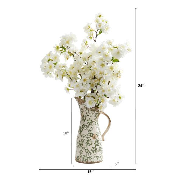 24 Cherry Blossom Artificial Arrangement in Floral Pitcher - SKU #A1318 - 1