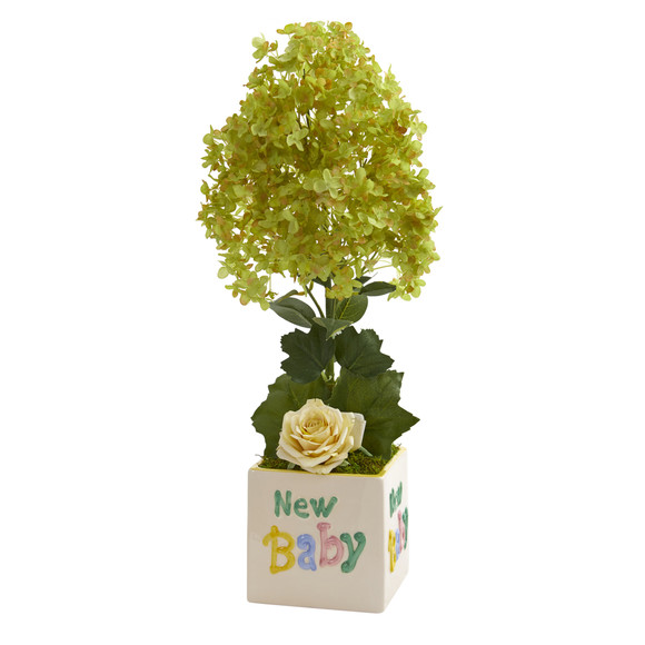 21 Peegee Hydrangea and Rose Artificial Arrangement in Vase - SKU #A1319