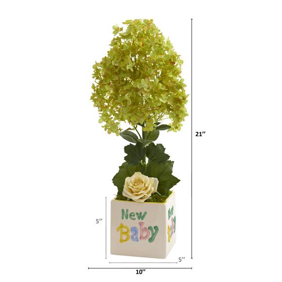 21 Peegee Hydrangea and Rose Artificial Arrangement in Vase - SKU #A1319 - 1