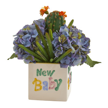 13 Hydrangea and Cactus Artificial Arrangement in New Baby Vase - SKU #A1320
